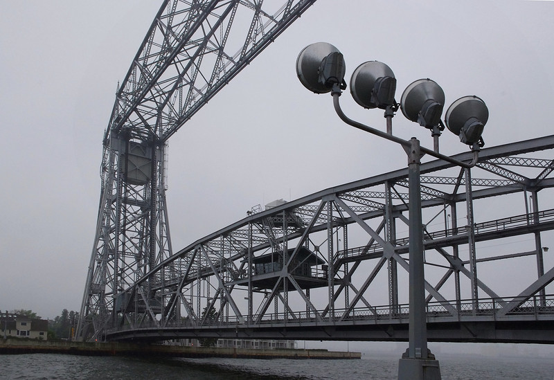 The aerial lift bridge is a major landmark in Duluth's Canal Park area.