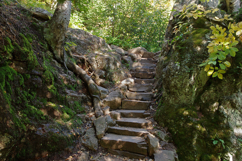 Stone steps on the trail along the river gorge; Temperance River State Park, Minnesota.