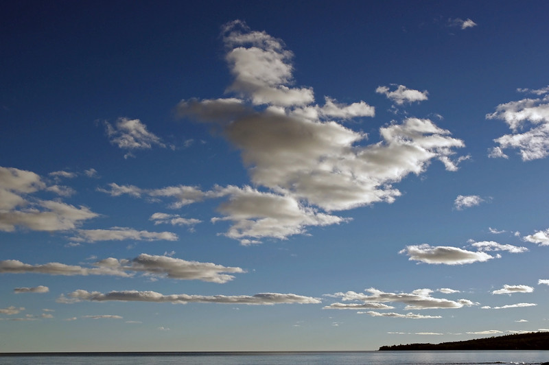 Bue sky and white clouds over Lake Superior.