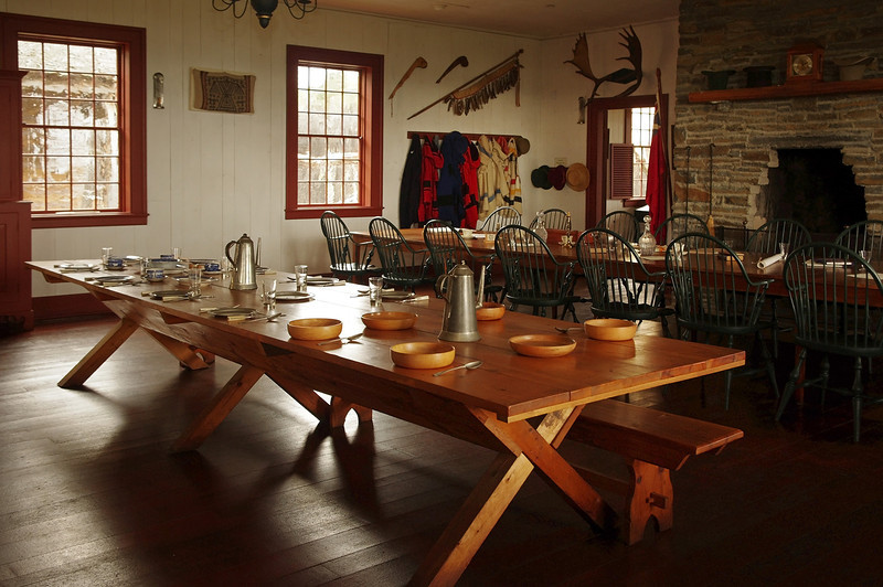 Dining room in the Great Hall at Grand Portage National Monument, Minnesota.