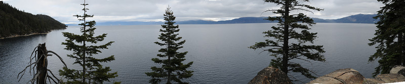A stitched together 180 degree panorama of the lake from near Emerald Bay.