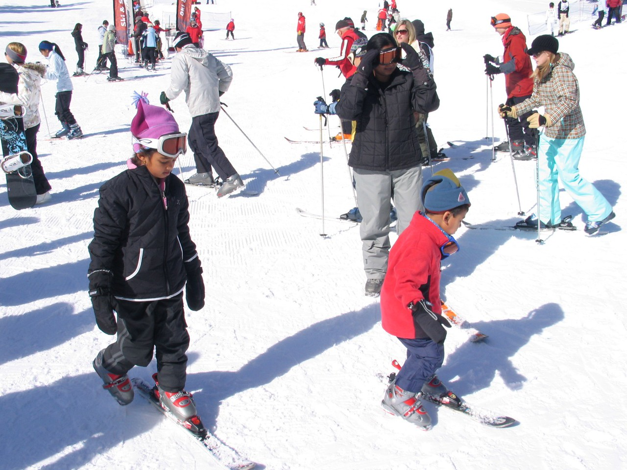 Vidya and the kids are playing around on one ski, just getting used to the feeling.