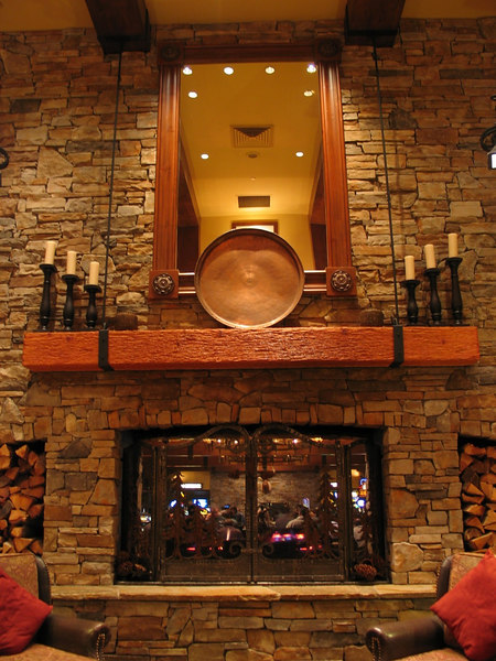 This is the fireplace in the Hyatt lobby.  It is hard to see unless you look at the full size original image, but there is a casino on the other side which can be seen through the fireplace.