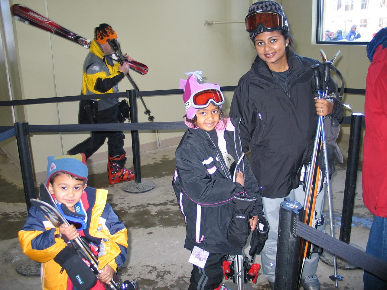 Here is Vidya, Resya and Rithik with their equipment, getting ready to board the gondola at Northstar.  You have to go up to the middle of the mountain for the ski school.