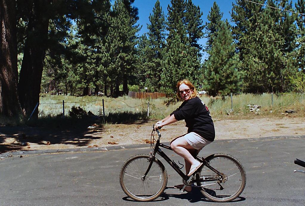 Sharon biking in Lake Tahoe