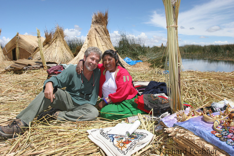"""Louis Schwartzberg, Director, with a local """"Reed"""" inhabitant"""