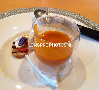 TOMATO - FENNEL SOUP with Baby Buffalo Mozzarella & TomatoBruschetta Loved the double walled Glass bowl for serving.