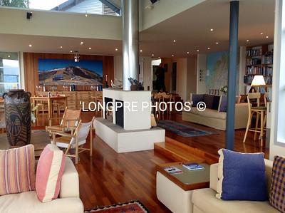 LIVING ROOM-fireplace- Dine Room   WHARE KEA LODGE