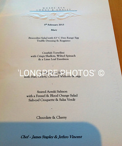 MENU for our last night here.  CHEF JAMES SHAPLEY and JETHRO VINCENT Food items in following photos.