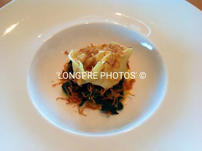 CRAYFISH TORTELLINI with Crispy SHALLOTS, wilted Spinach & Lime Leaf Emulsion