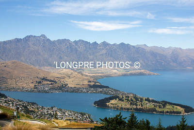 QUEENSTOWN view from mountain top...Gondola ride. Mountain range behind is THE REMARKABLES.