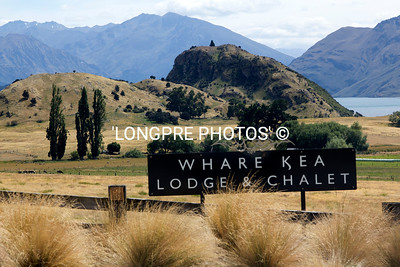 Entry gate sign for WHARE KEA LODGE and CHALET.  Lake Wanaka