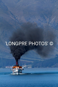 TTS ERANSLAW powering across Lake Wakatipu.  Coal burning steam driven.