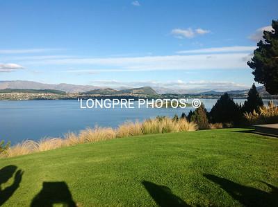 Lake Wanaka view from lawn at Whare Kea Lodge