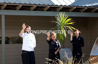 Staff waving goodbye:  Craig Sommerville, Shirley, and Melanie.  Feb. 6, 2013