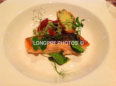 Aoraki SALMON seared, with FENNEL & BLOOD ORANGE SALAD. Salt-cod CROQUETTE and Salsa Verde