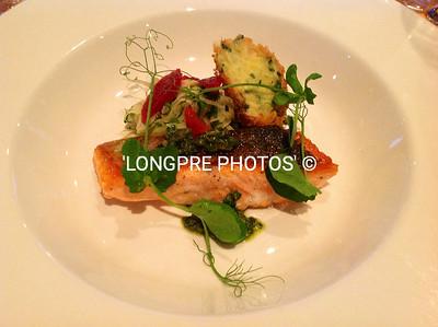 Aoraki SALMON seared, with FENNEL & BLOOD ORANGE SALAD. Salt-cod CROQUETTE and Salsa Verde