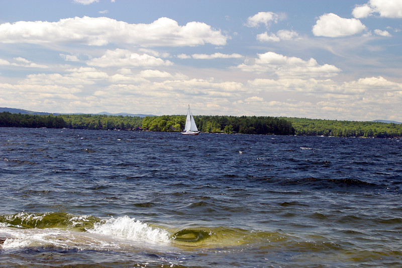 View of a Sailboat from Long Island, Lake Winnepesaukee
