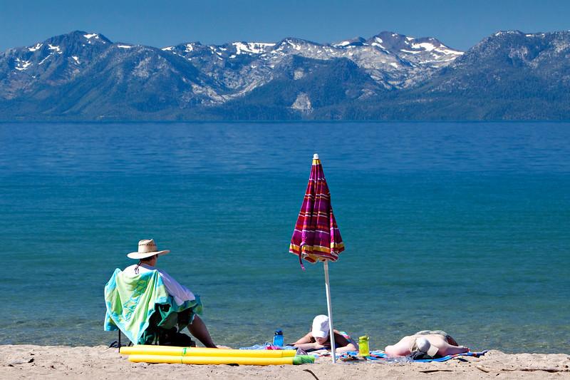 Sunbathers at Sand Harbor