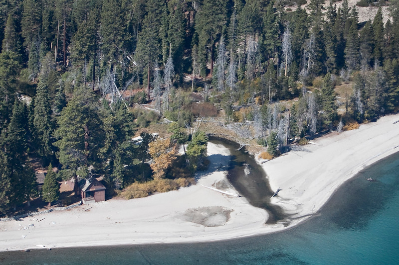 Aerial view of General Creek at Sugar Pine Point State Park, one of 63 streams feeding into Lake Tahoe.