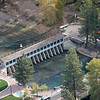 An aerial view of the dam in Tahoe City.  This is the only place where water leaves Lake Tahoe. From the dam the water travels down the Truckee river through Reno and into Pyramid Lake in Nevada.