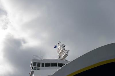 Duke flag flying over the National Geographic Explorer. Photo Lisa M. Dellwo