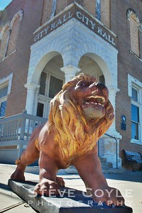 The lion guard at Granger City Hall.