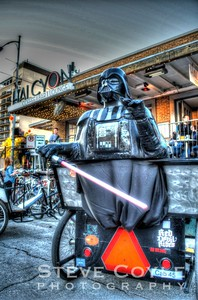 Even Darth needs a coffee pick me up at Halcyon before a long night on the back of a pedicab.