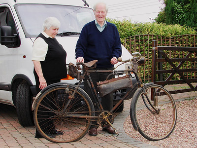 Basil and Shelia with a fine example of a bike probably dating from 1900