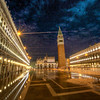 After sunset , went to Piazza San Marco .  When I was there earlier in day water was coming UP from storm drains , went from puddles about 10 ft around drains to half the piazza covered in water as tide rose .