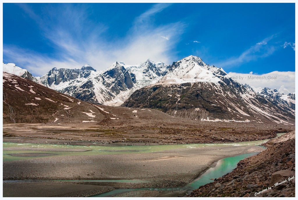 Chandra River, Bara Shigri Glacier and Glacial melt near Batal
