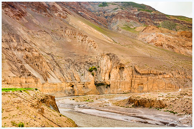 Rock formations & Spiti River near Tabo