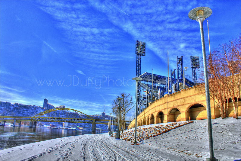 A Winter Stroll By The Old Ballpark