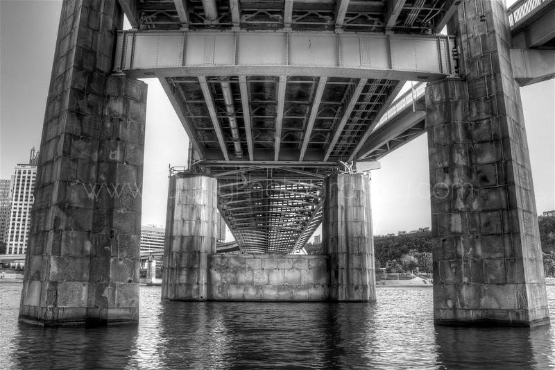 under bridge HDR b&W