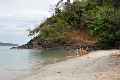 Tourists on the lovely beaches of Langkawi, Malaysia