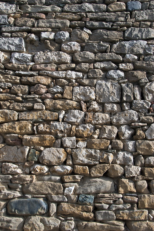 Ancient dry stone wall in France