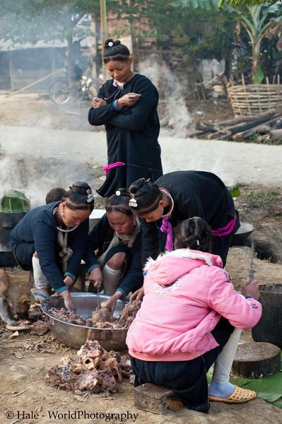 Lanten Women Preparing and Cooking Food for Village Celebration