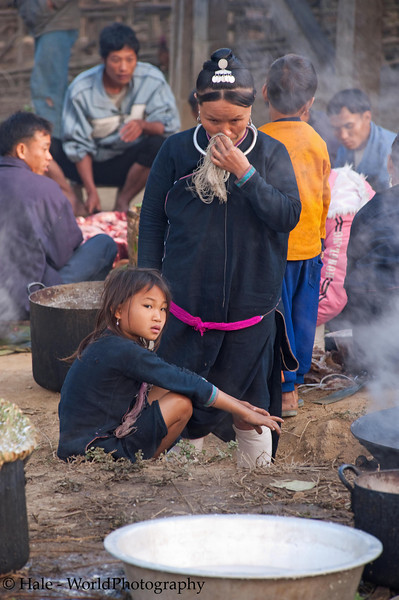 Lanten Woman Preparing Breakfast, Ban Tin Thad, Laos