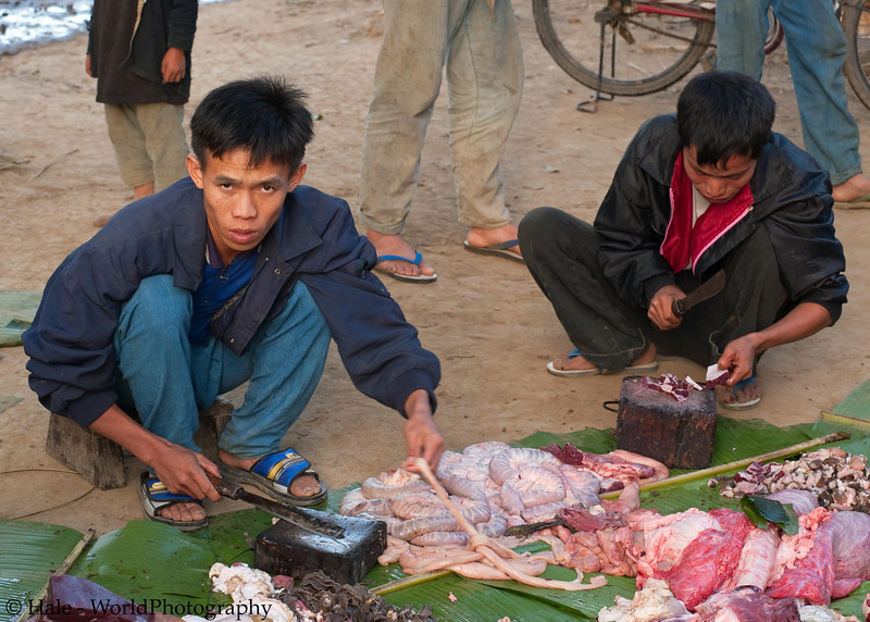 Lanten Men Preparing Pork For New Years Feast, Ban Tin Thad, Laos
