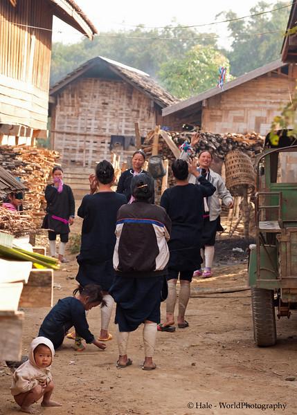 Lanten Village Street Scene, Ban Tin Thad, Laos