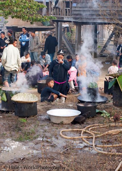 Lanten Women Preparing Breakfast, New Years Day, Ban Tin Thad, Laos