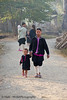 Lanten Woman and Her Child Walking To Eat Breakfast With Friends, Ban Tin Thad Laos