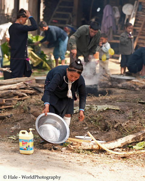 Washing Cooking Utensils in Lanten Village, Laos