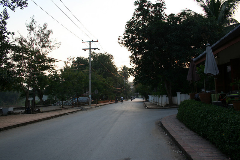 The street outside our hotel (The Apsara) on the banks of the Nam Khan river