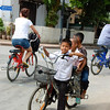 These kids were preparing to go down a hilly street -- luckily made it!!
