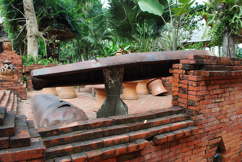 Tons of old bomb casings from the VN war used as table bases, decor, etc -- Laos had more bombs dropped on it by the US than in WWII.