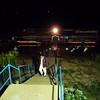 stairs down to Khem Khong floating restaurant