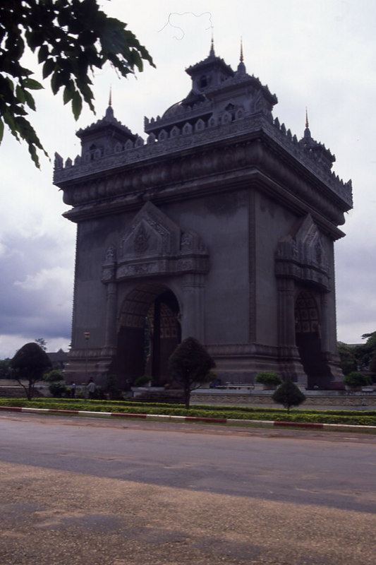 Victory Gate, a Triumphal Arch in Vientiane, the capital city of Laos.