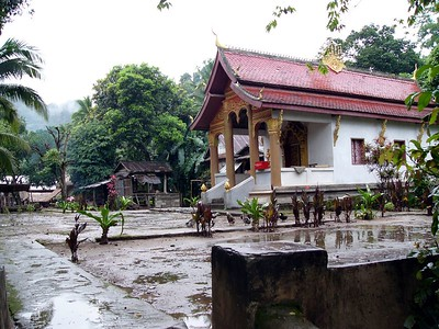 The temple of the village on the Mekong.