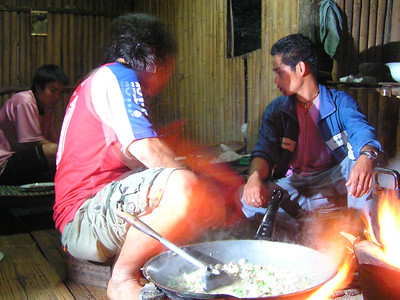 Our eveing meal being prepared in a wooden hut.